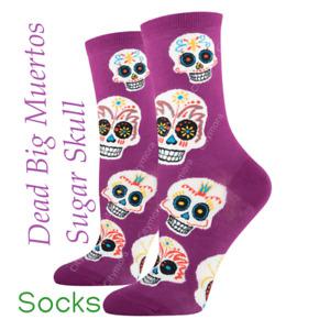 Socksmith Women's premium Crew Socks Day of the Dead Big Muertos Sugar Skull Pur