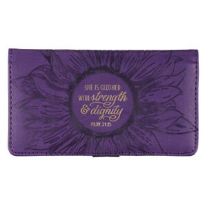 CHECKBOOK COVER She is Clothed With Strength & Dignity Purple Prov. 31:25