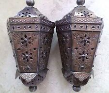 Mexican Art Punched Tin Ceiling Light Cutout Pendant Pair Copper Tone 21""
