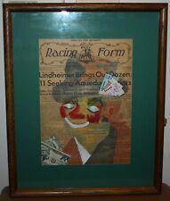 1966 Sibyl Hechtenthal Clown Watercolor Painting on Race Form racing folk art