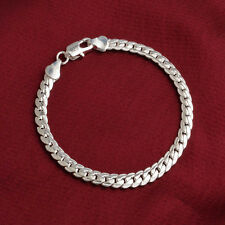 Fashion 925 Silver Flat Chain Bangle Bracelet Women Anniversary Party Jewelry