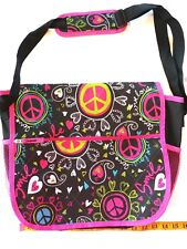 Girls messenger bag hearts peace signs pink black lime green new with tags.