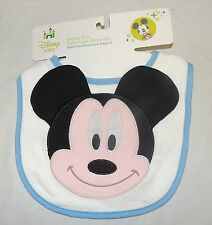 New Unisex Baby Disney Mickey Mouse Bib Blue 100% Cotton