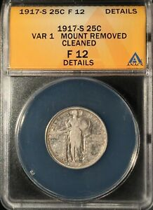 1917-S T 1 Std Lib Quarter== ANACS F-12 Details Mount Remvd/ Clnd=FREE SHIPPING!