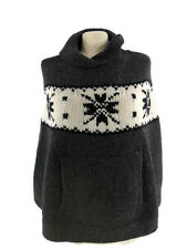 Gap Hand Knitted Poncho With Shawl Collar Wool Gray and White Women's  Size XS