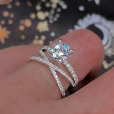Infinity Women 925 Silver Rings Round Cut White Sapphire Wedding Ring Size 9