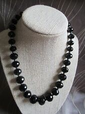 Beautiful Black Beaded Necklace 18K White Gold Plated Clasp