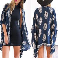 Women Boho Floral Kimono Cardigan Loose Long Sleeve Bikini Cover Up Blouses Tops