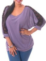 NEW Betwing Sleeves Lace Shoulder Top Women Plus 1X 2X 3X PURPLE
