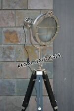 DESIGNER Nautical SPOT LIGHT Tripod Floor LAMP Search Light Antique FLOOR LAMP