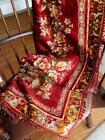 Vintage European Velvet Aubusson Pattern Style Throw Rug Bedspread