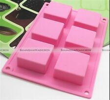 6 Cavity Square Bar Soap Bake Mold Silicone Mould Tray Homemade Craft DIY  S8