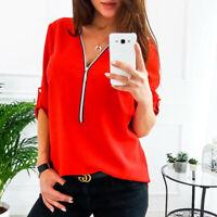 Women Tshirt Ladies Long Sleeve V-Neck Zipper Casual Loose T Shirts Tops