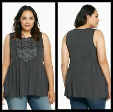 Torrid Women's Plus Size 4 4X Gray Embroidered Mesh Front Tank Top (29-13)