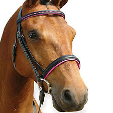 NEW English Show Bridle Pink Crystal Browband Bling Browband PONY / COB /  FULL