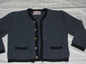 LUSANA BOY'S DENIM BLUE ALPINE WOOL TRACHTENJANKER CARDIGAN SWEATER AUSTRIA Sz 4