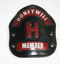 VINTAGE FIREFIGHTERS HELMET LEATHER FRONTICE HONEYWELL FIRE BRIGADE MEMBER PHILA