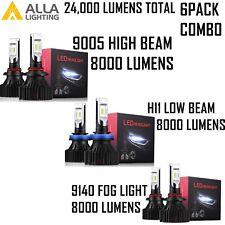 Combo LED Headlight 9005 High H11 Low Beam 9140 Fog Light Bulb White for F-150