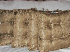 Kingsbury Home Dining Chair Tie-On Cushions Set of 4 Bronze Scroll EUC REDUCED !
