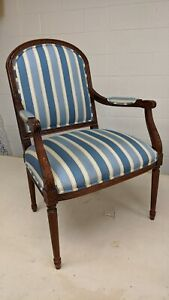 Ethan Allen French Bergere Accent Chair Upholstered Blue Stripe