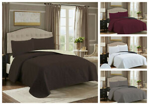 Embossed Reversible 3 Piece Bed spread Coverlet Quilt Bedding Set + Pillow Cases