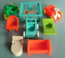 Fisher Price Little People ~ Vintage Baby Child Furniture & Vehicles 8 Piece Lot