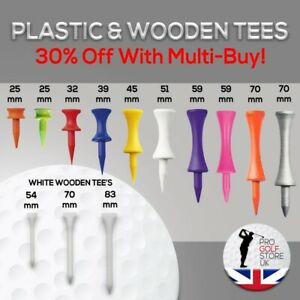 Golf Plastic Castle & Wooden Masters Tees-Free Postage-Great Prices And Value!