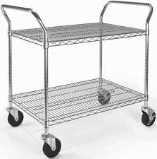 """24"""" x 36"""" Heavy Duty Office Rolling Media Utility Push Cart in Silver w/Casters"""
