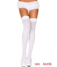 SEXY medias Blancas Opaco talla única volante elástica LENCERÍA GLAMOUR
