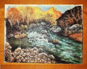 """JOAQUIN CLAUSELL 12.5"""" x 9.5"""" GOUACHE COLOR CRAYON ON CANVAS PAINTING"""