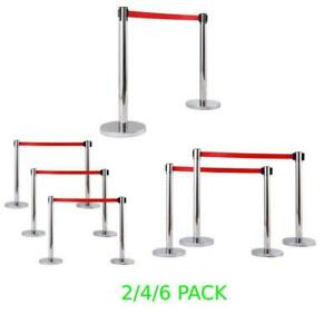 Hot 2/4/6 PACK Stainless Steel Stanchion Posts w/Red Velvet Rope Queue Barrier