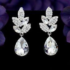 Silver Tone Clear Crystal  Rhinestone Leaf Wedding Chandelier Dangle Earrings 18