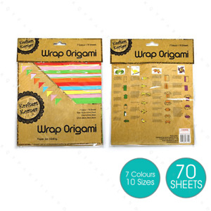 70 Sheets Craft Origami Paper Square Folding Papers Mix Sizes Colours Scrapbook