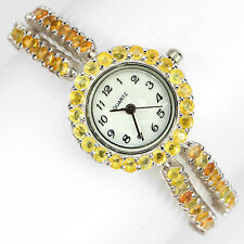 PRECIOUS NATURAL GEM TOP RICH YELLOW SAPPHIRE-DIAL MOP STERLING 925 SILVER WATCH