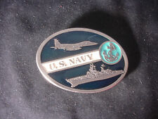 "U.S. Navy Usn Military Belt Buckle 3"" x 2 1/2"" Ship Boat Airplane Jet"