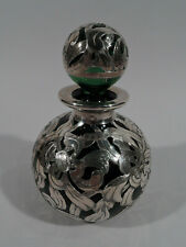 Antique Perfume - 46 - Art Nouveau Bottle - American Green Glass Silver Overlay