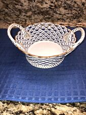 Andrea by Sadek Porcelain Basket Bowl Pierced Handles Blue & White w/gold trim