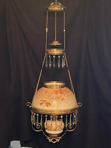 Victorian Antique Hanging Oil Parlor Library Lamp with Floral Glass