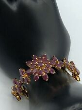 New 14k Yellow Gold Plated Natural Ruby ~11.00 Tcw Bracelet