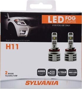 NEW! SYLVANIA H11 LED Fog Lights Bright White LED Light Output Headlight 2 Bulbs