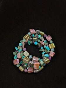 Artisan Silver Tone Green Jadeite Amethyst Chip Shell Wrap Bracelet 13738