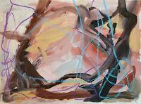 Mona Vivar original abstract mixed media seashell contemporary art painting 9x12