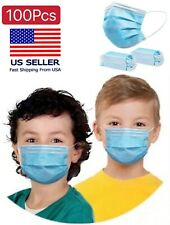 100 PCS 3-Ply Disposable Kids Face Mask Non Medical Surgical Earloop Mouth Cover