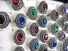 US SELLER - 24 rings large rhinestone Victorian retro jewelry wholesale rings