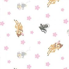 Bambi Woodland Forest Dreams Thumper Rabbit Flower Skunk White Cotton Fabric