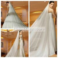 3M White Ivory champagne Wedding Bridal Cathedral Long Veil Cut Edge With Comb