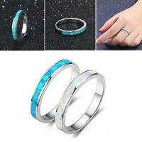 Silber Überzogene Weiß / Blau Feueropal Ring Frauen Hochzeit Verlobungsschmuck