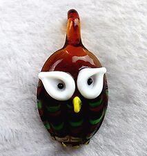 55x30x11mm Salmon diamond cute Owl Glass Necklace Pendant Vk6493