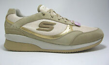 New Skechers size 9 Gold & Tan Wedge Fit Vita Metallic Leather &Textile Sneakers