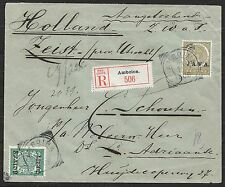 Netherlands Indies covers 1909 mixed franked R-cover Amboina to Zeist